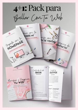 Pack de 5 Ebooks: 4 Guías de Diseño+Plantillas de CopyWriting y 1 Plantilla Planifica y Organiza Tu Web